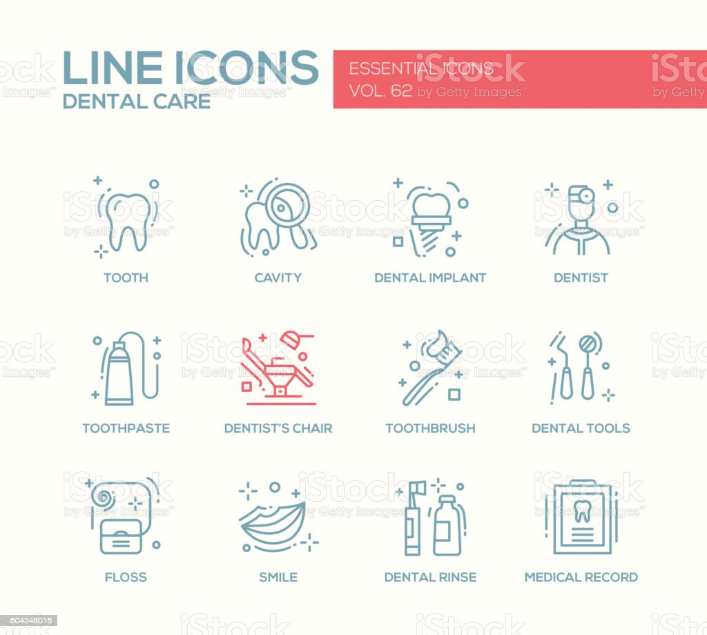 Dental Care - line design icons set vector art illustration