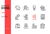 Dental care - line design style icons set. Personal hygiene, healthcare, stomatology concept. Tooth, cavity, implant, dentist, toothpaste, chair, toothbrush, tools, floss, smile, rinse, medical record