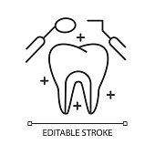 Dental care linear icon. Medical procedures. Dentistry. Odontology. Tooth examination. Caries prevention. Thin line illustration. Contour symbol. Vector isolated outline drawing. Editable stroke