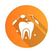 Dental care orange flat design long shadow glyph icon. Medical procedures. Dentistry. Odontology. Tooth examination. Cavity treatment. Caries prevention. Toothache. Vector silhouette illustration