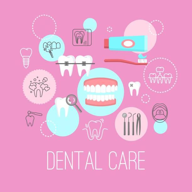 Zahnpflege-Poster mit flachen Symbole – Vektorgrafik