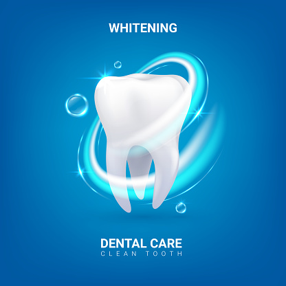 Dental care. Realistic clean 3D tooth. Whitening enamel or oral hygiene. Dentist service advertising banner with lettering. Professional teeth treatment. Vector dentistry and healthcare