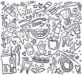 Stomatology. Dental care background. Hand drawn elements. Vector illustration Doodle