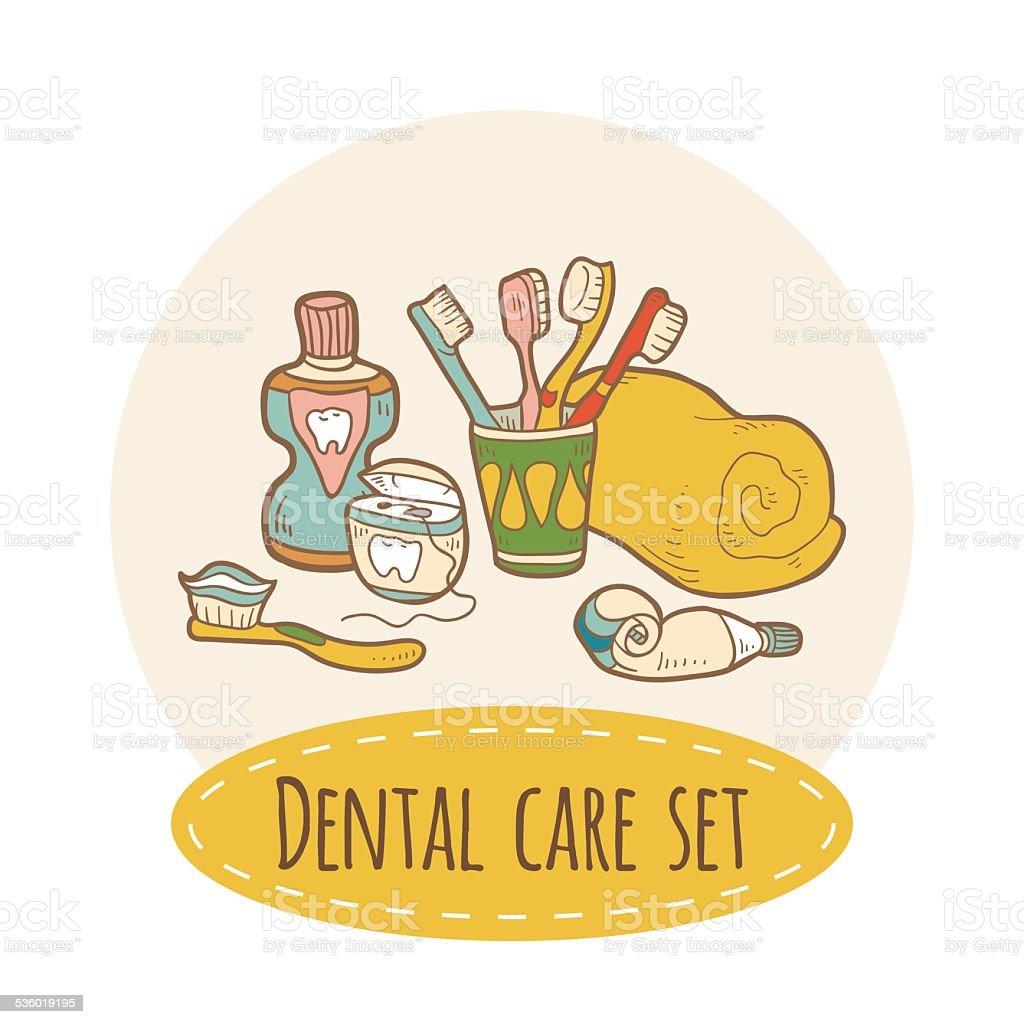 Dental care set vector art illustration