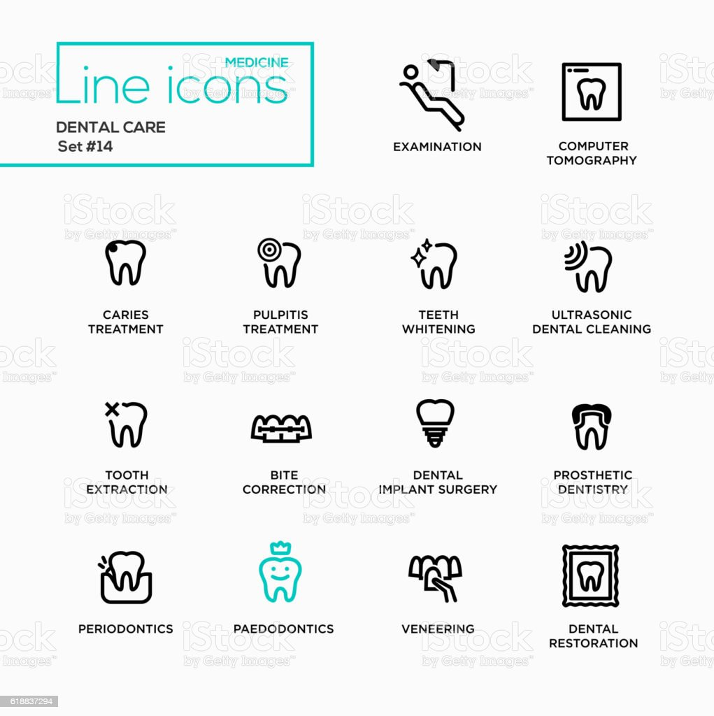 Dental Care - Single Line Pictograms Set vector art illustration