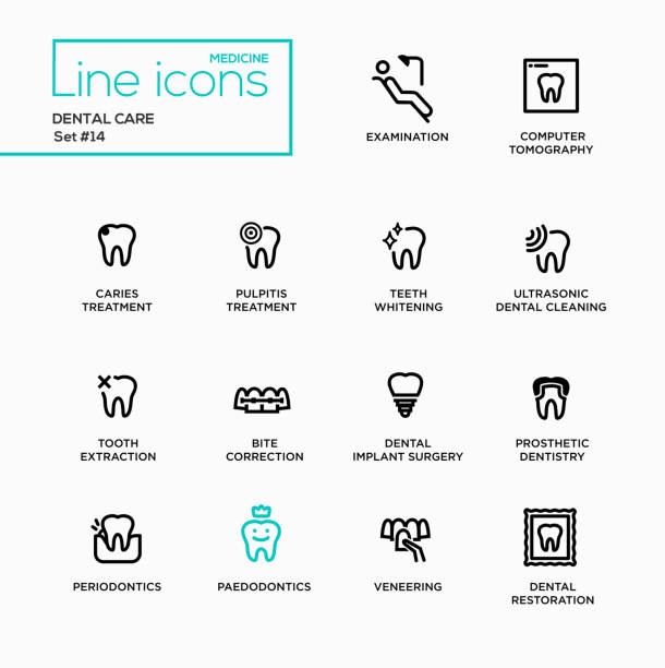 Dental Care - Single Line Pictograms Set - Illustration vectorielle