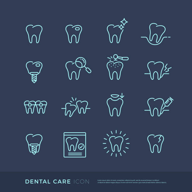 dental care thin line icon, pictograms set. dental healthcare concept. editable stroke - dentist logos stock illustrations