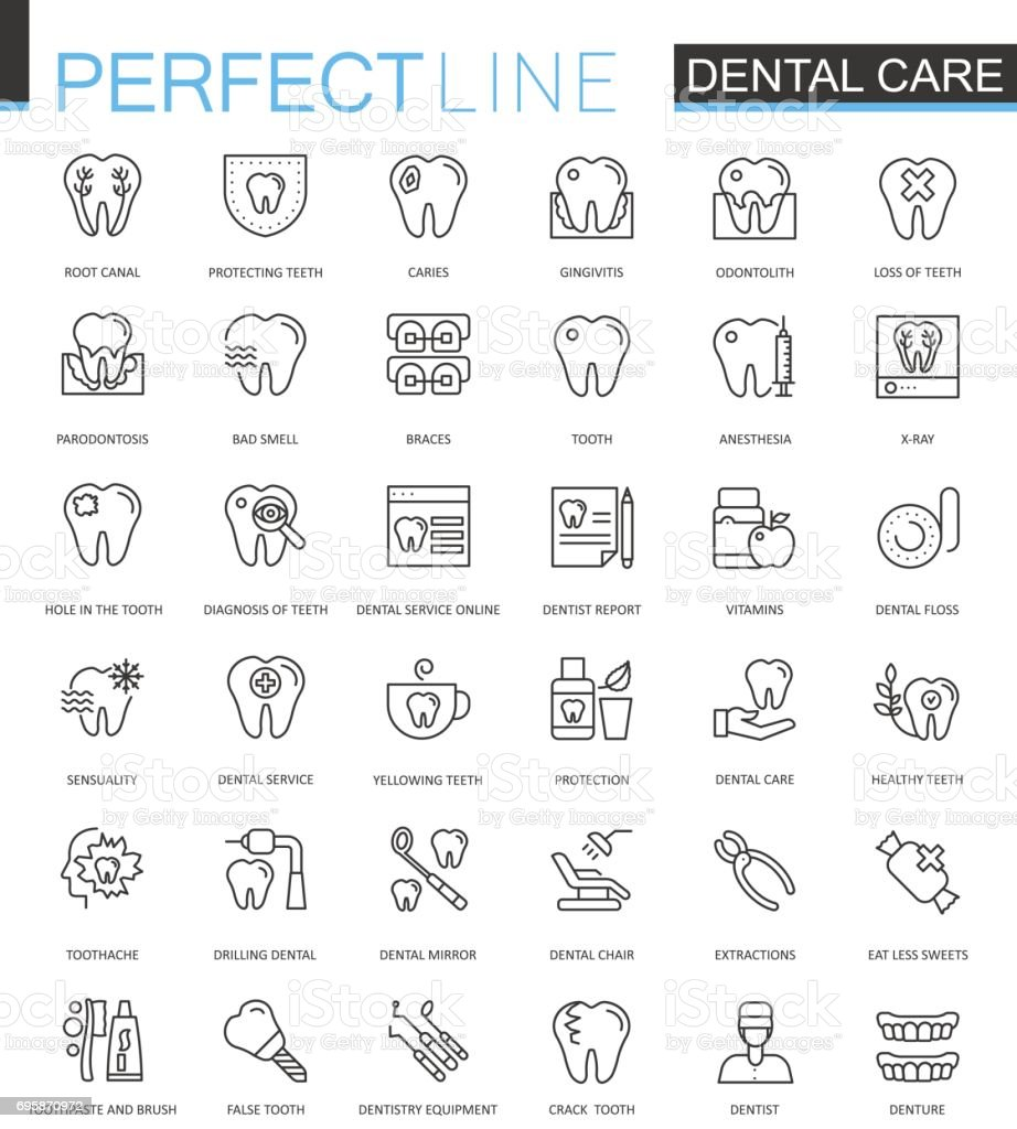 Dental care thin line web icons set. Outline stroke icons design. vector art illustration