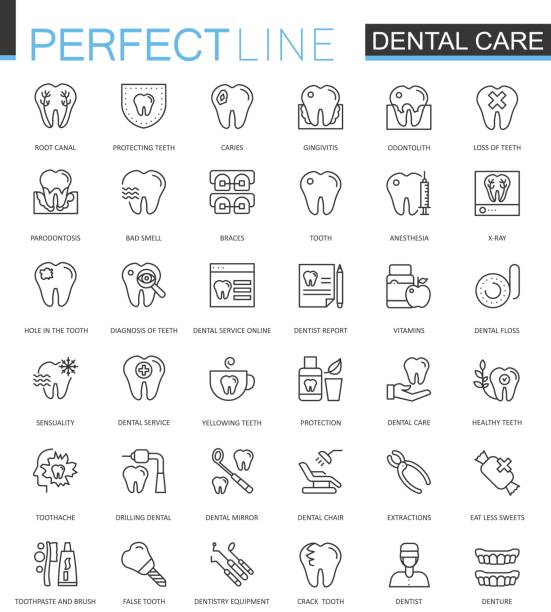 dental care thin line web icons set. outline stroke icons design. - dentist stock illustrations, clip art, cartoons, & icons