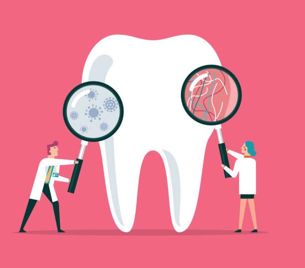 stockillustraties, clipart, cartoons en iconen met tandheelkundige verzorging - streptococcus mutans