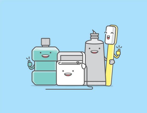 bildbanksillustrationer, clip art samt tecknat material och ikoner med dental tecknad av ett renare gäng munvatten, tandtråd, tandkräm, tandborste, illustration seriefigur vektor design på blå bakgrund.  tandvårdskoncept. - tandsten