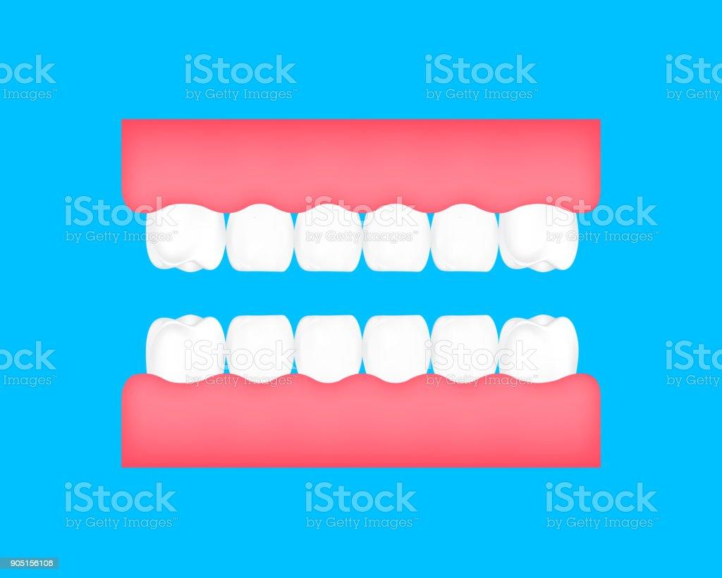 Dental cartoon of  healthy tooth. vector art illustration