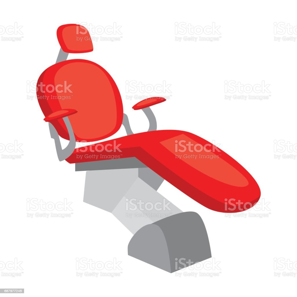 Dental chair icon in cartoon style isolated on white background. Dental care symbol stock vector illustration. vector art illustration