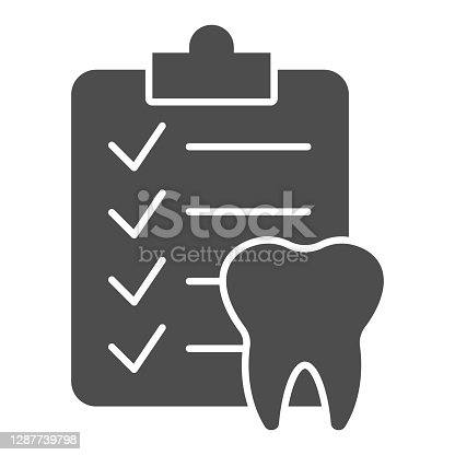 istock Dental checklist and tooth solid icon, Hygiene routine concept, Teeth Diagnostic Report sign on white background, Clipboard with human tooth icon in glyph style. Vector graphics. 1287739798