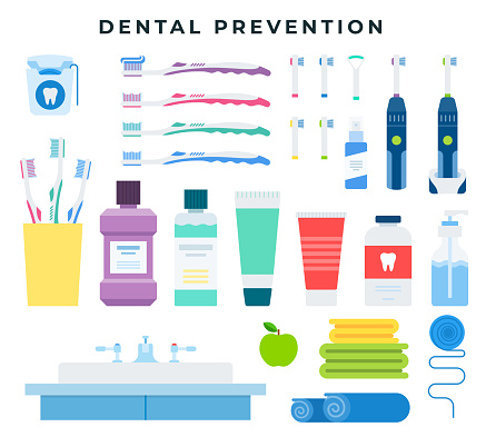 Dental cleaning tools for preventive oral hygiene, set of elements. Vector illustration, isolated on background.