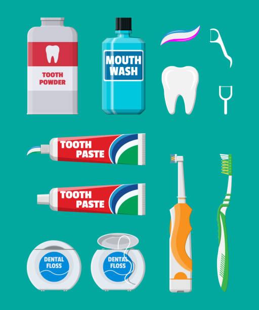 Zahnreinigung. Mundpflege Hygieneartikel – Vektorgrafik