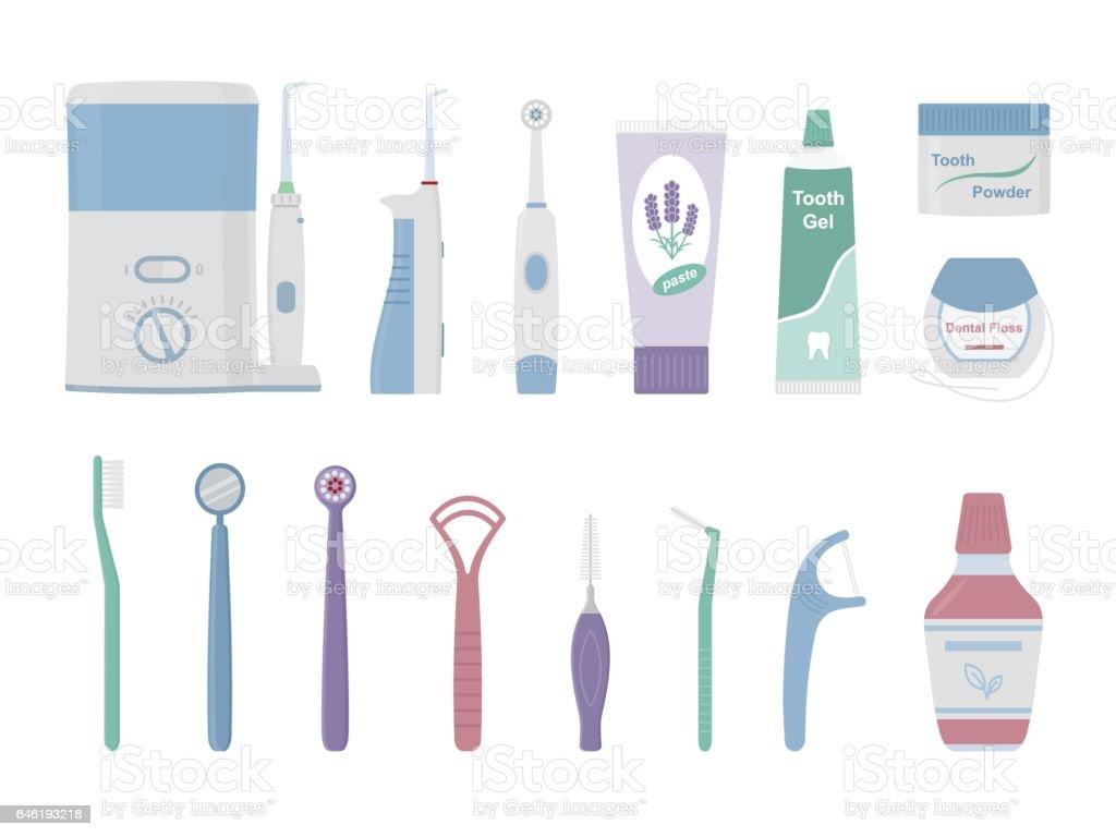 Dental cleaning tools. vector art illustration