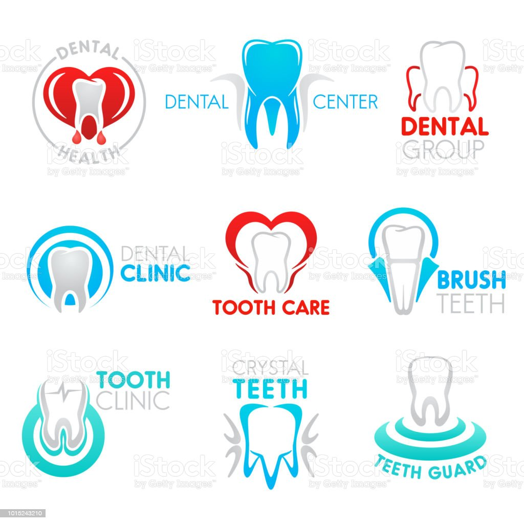 Dental clinic and dentistry symbol with tooth vector art illustration