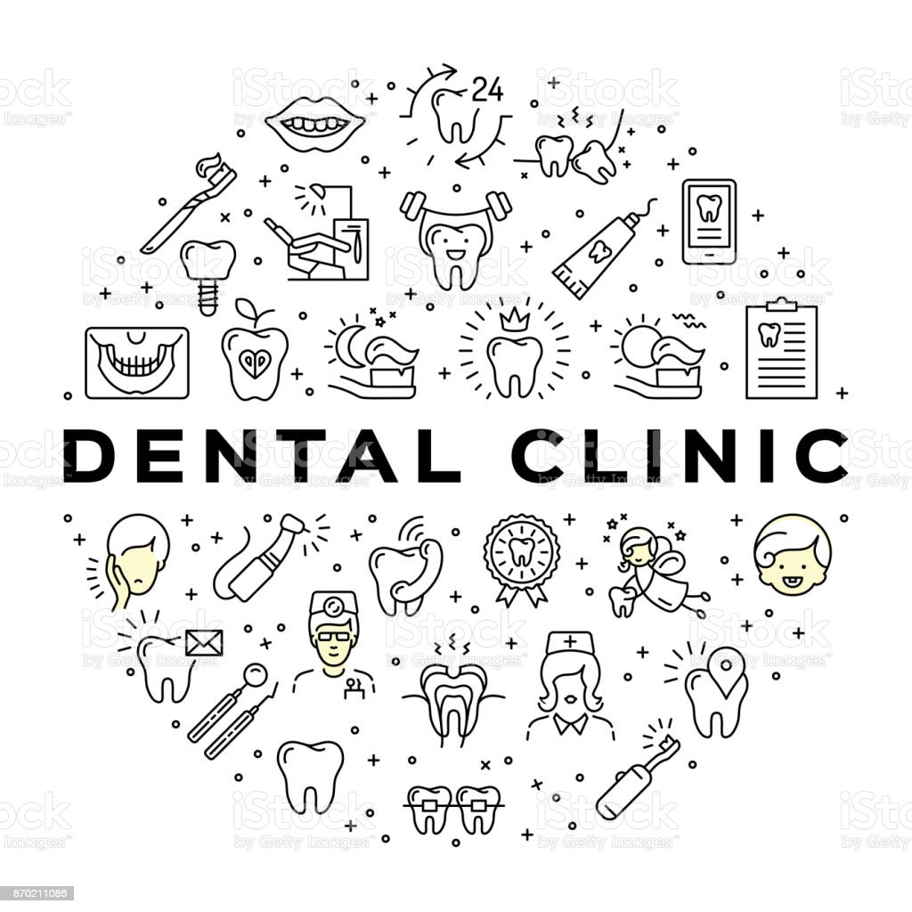 Dental clinic circle infographics Stomatology Dental care thin line art icons vector art illustration