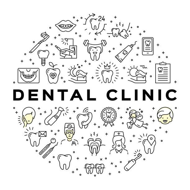 Clínica odontológica círculo infográficos Estomatologia dentária ícones de arte de linha fina de cuidados - ilustração de arte em vetor