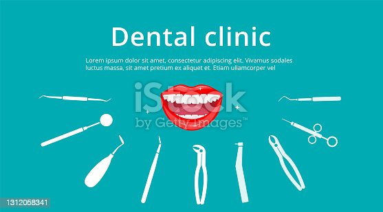istock Dental clinic, dentistry, orthodontics banner. Open smiling female mouth with healthy white teeth surrounded by flat isolated icons. Dental tools and equipment background. Vector illustration 1312058341