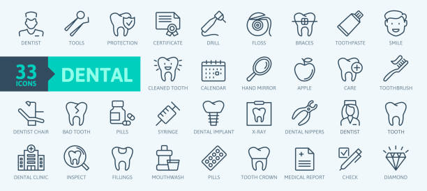 dental clinic elements - thin line web icon set. outline icons collection. simple vector illustration. - dentist stock illustrations