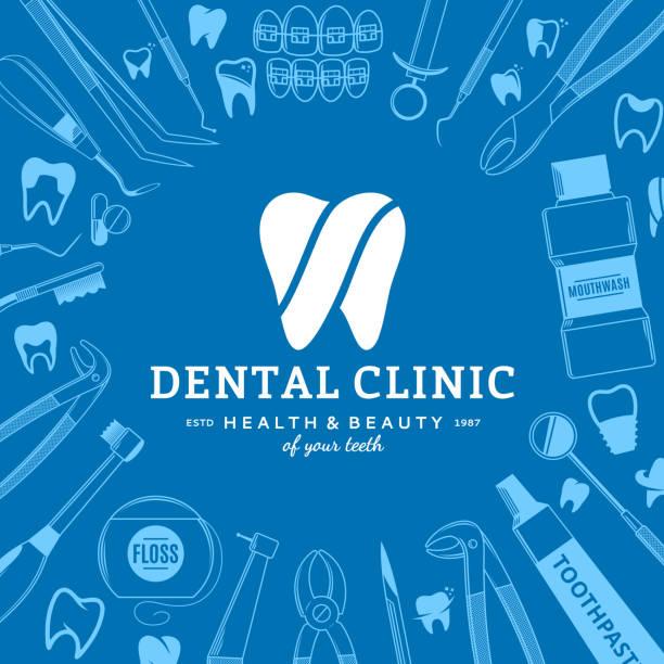 dental clinic label and dental instrument icons - dentist logos stock illustrations