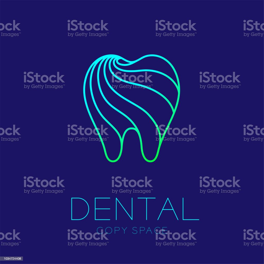 Dental clinic logo icon tooth outline stroke design illustration isolated on dark blue background with dental text and copy space vector art illustration