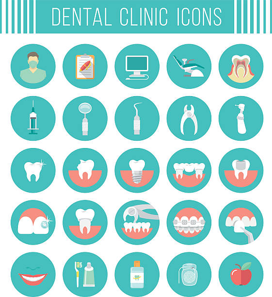 dental clinic services flat icons - orthodontist stock illustrations, clip art, cartoons, & icons
