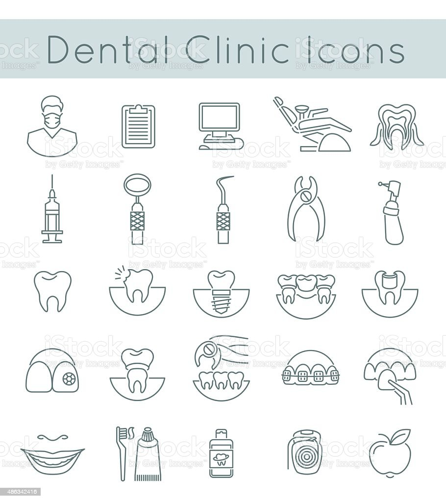 Dental clinic services flat thin line icons vector art illustration