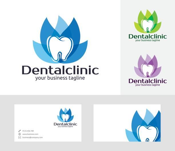dental klinik-vektor-symbol - zahnarzt logos stock-grafiken, -clipart, -cartoons und -symbole