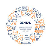Dental Concept - Colorful Line Icons, Arranged in Circle