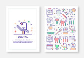 Dental Concept Line Style Cover Design for Annual Report, Flyer, Brochure.