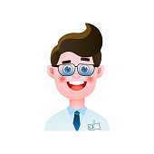 Dental doctor smiling with metal eyeglasses in white clothes, medical cabinet. Cartoon style. Vector illustration on white background