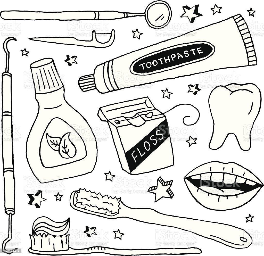 Dental Doodles vector art illustration