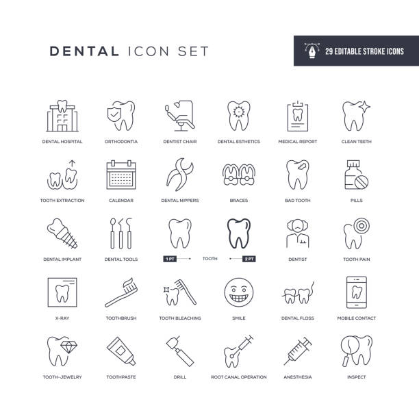 Dental Editable Stroke Line Icons 29 Dental Icons - Editable Stroke - Easy to edit and customize - You can easily customize the stroke with dentist stock illustrations