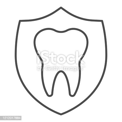 Dental emblem thin line icon. Protection, shield with healthy tooth symbol, outline style pictogram on white background. Dentistry sign for mobile concept and web design. Vector graphics