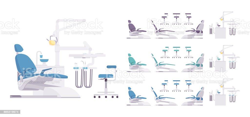 Dental equipment set vector art illustration