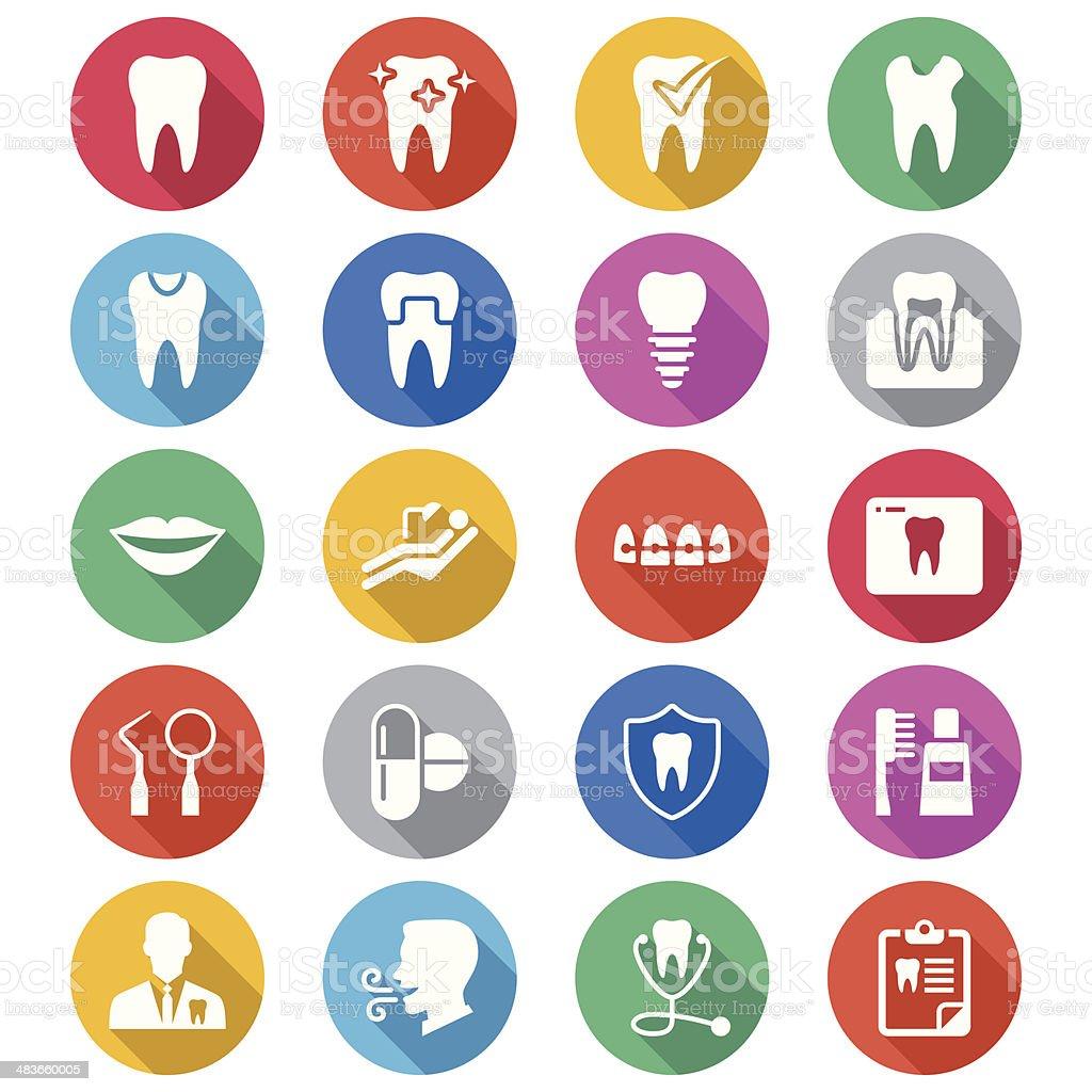 Dental flat color icons vector art illustration