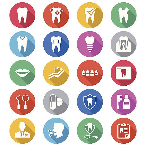Dental flache Farbe icons – Vektorgrafik