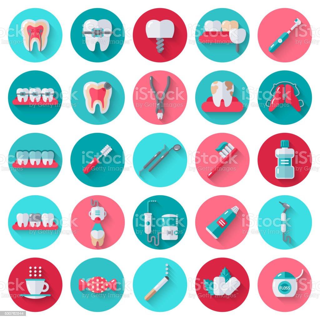 Dental Flat Icons Set in Circles vector art illustration