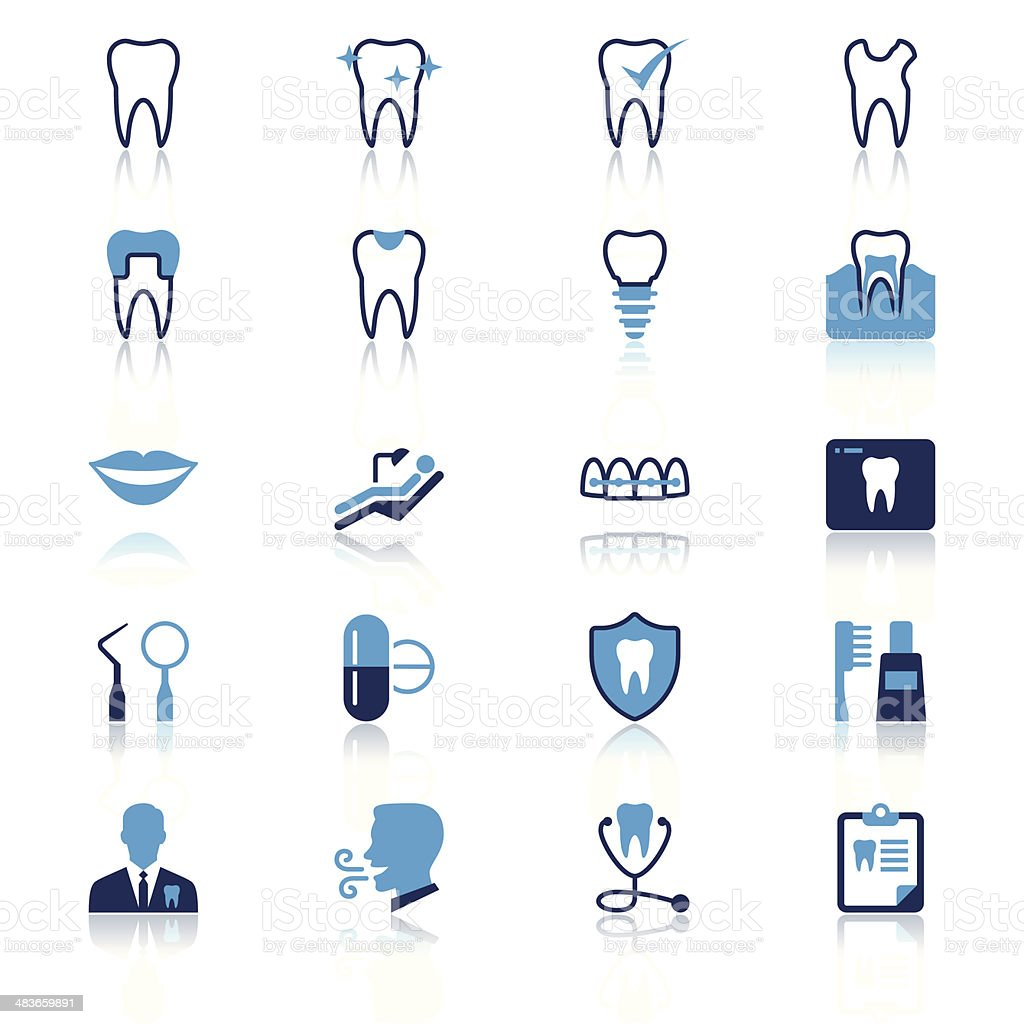 Dental flat with reflection icons vector art illustration