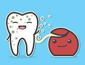 Dental floss cleaning dirty tooth.