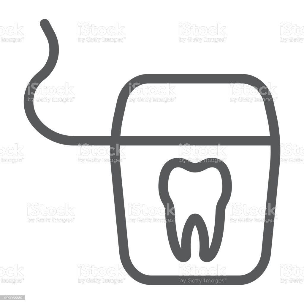 Zahnseide Liniensymbol Zahnmedizin Und Zahnärztliche Saubere Zeichen ...