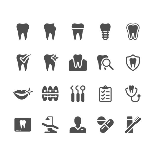 illustrazioni stock, clip art, cartoni animati e icone di tendenza di dental glyph icons - denti