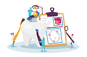 istock Dental Health Care, Oral Treatment Program, Check Up Concept. Tiny Doctor Dentists Characters in Medical Robe Use Tools 1274273995