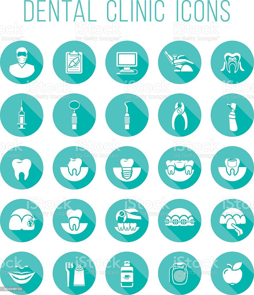 Dental health care round flat vector icons vector art illustration