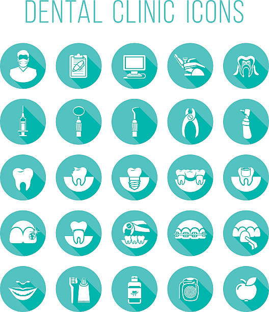dental health care round flat vector icons - dentist stock illustrations, clip art, cartoons, & icons