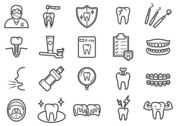 bildbanksillustrationer, clip art samt tecknat material och ikoner med tand hälsa linje ikoner set - tandsten