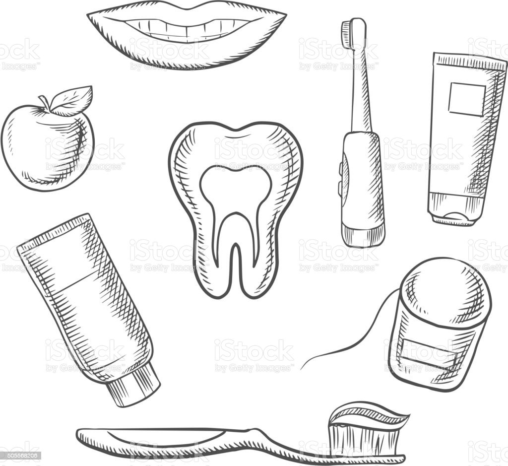 dental hygiene medical icons in sketch style stock vector